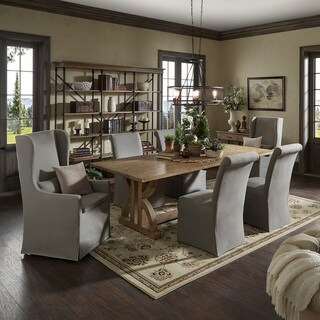 Paloma Reclaimed Wood Rectangular Dining Set with Rolled Back Grey Cotton Chairs by iNSPIRE Q Artisan