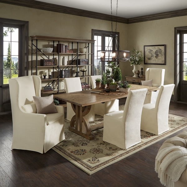 Paloma Reclaimed Wood Rectangular Dining Set with Cream Cotton Chairs by iNSPIRE Q Artisan