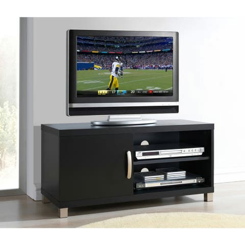 Urban Designs Modern TV Stand with Storage For TVs Up To 40 Inches - Black
