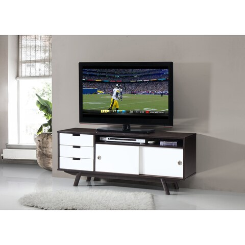 Urban Designs Modern Wood Veneer 55 TV stand with Sliding Doors - Wenge