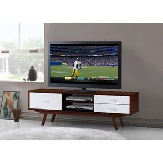 Urban Designs Retro Wood Veneer Walnut 65 TV Stand With Storage