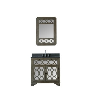 Legion Furniture 36 in. Bathroom  Vanity in Brushed Natural with Moon Stone  Top and Mirror