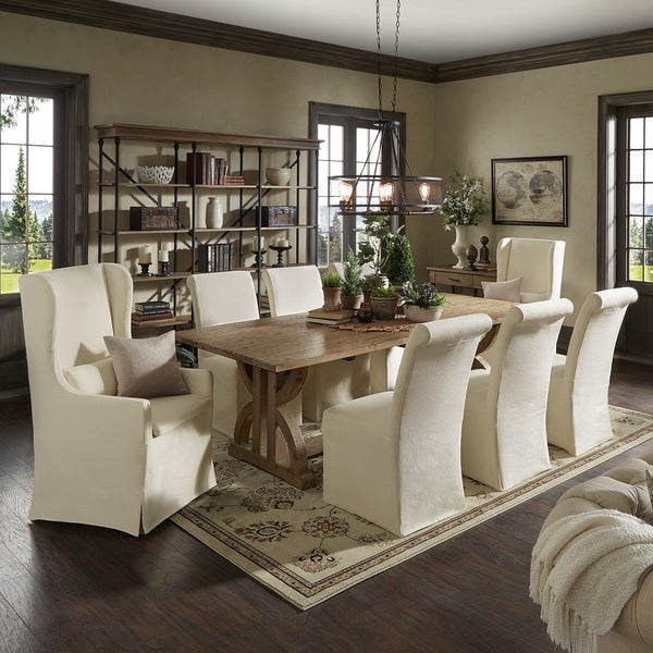 Paloma Reclaimed Wood Rectangular Dining Set with Rolled Back Cream Cotton Chairs by iNSPIRE Q Artisan
