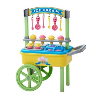 American Plastic Toys Ice Cream Cart - Blue/Green/Yellow