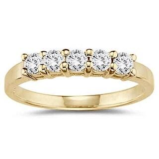 1/2 Carat TW 5 Stone White Diamond Ring in 10K Yellow Gold