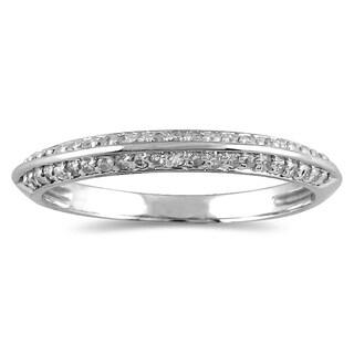 1/4 Carat TW Diamond Knife Edge Wedding Band in 10K White Gol