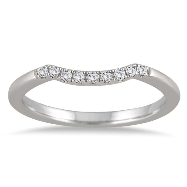 1 10 Carat Tw Curved Diamond Wedding Band In 14k White Gold