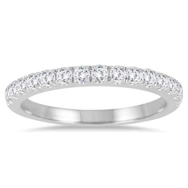 14547a7c333fff Shop 1/2 Carat TW Diamond Wedding Band in 10K White Gold - On Sale - Free  Shipping Today - Overstock - 20635397
