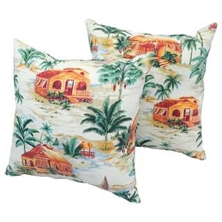 Retro Tiki 17-inch Indoor/Outdoor Throw Pillow (Set of 2)