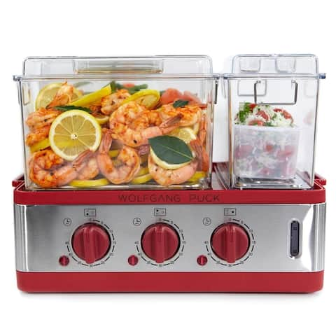 Wolfgang Puck 3-Chamber 9-Quart Electric Steamer with Recipes (Refurbished)