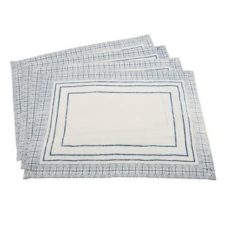 Indigo Cotton Hand Blocked Mod Print Placemats (Set of 4)