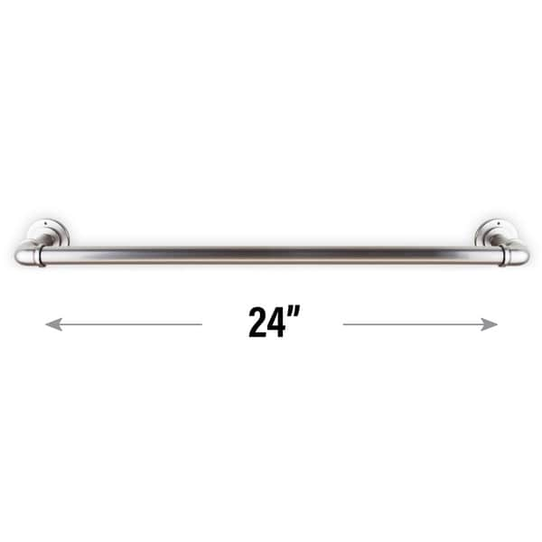 Industrial Pipe Design Towel Bar//Closet Rod//Kitchen Rail Wall or Ceiling Mount 18 inches A/&F Rod D/écor Satin Nickel