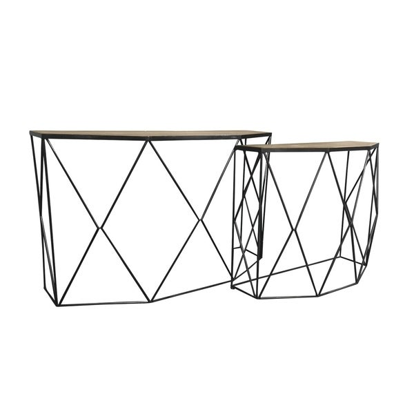 Modern Gigs Metal And Wood Nesting Console Table, Set Of 2