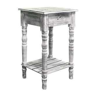 Coastal White Pine Wood Accent Table