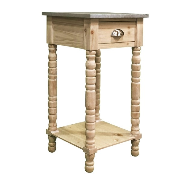 The Holland Grace Coastal Glam Pine Wood Accent Table, Pale Pine