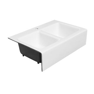 "Maykke Zadie 33"" White Farmhouse Kitchen Sink, Cast Iron"