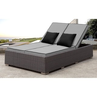 SOLIS Benitto Outdoor Double Chaise Lounger Gry Cushions, Blk Pillows