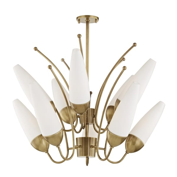 Mitzi by Hudson Valley Amee 10-light Aged Brass Chandelier, Opal Matte Glass