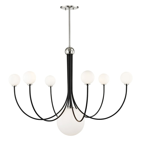 Mitzi by Hudson Valley Coco 7-light Polished Nickel Chandelier with Black Accents, Opal Shiny Glass