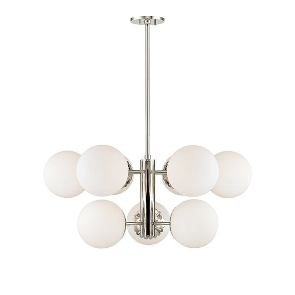 Mitzi by Hudson Valley Paige 9-light Polished Nickel Chandelier, Opal Glossy Glass