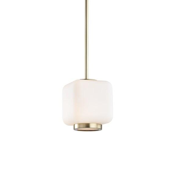 Mitzi by Hudson Valley Jenny Aged Brass 6.5-inch Pendant, Opal Matte Glass