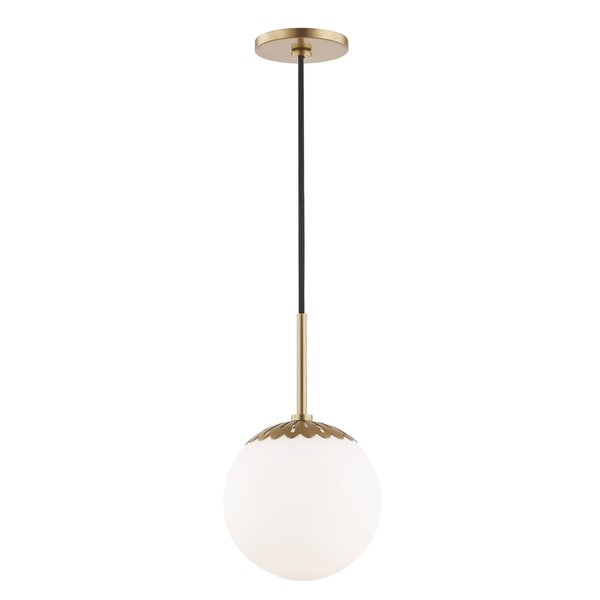 Mitzi by Hudson Valley Paige 1-light Aged Brass Small Pendant, Opal Glossy Glass