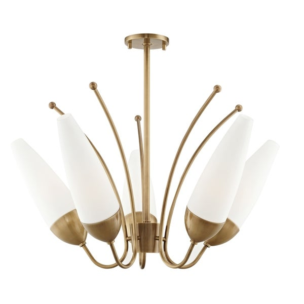 Mitzi by Hudson Valley Amee 5-light Aged Brass Chandelier, Opal Matte Glass