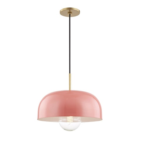 Mitzi by Hudson Valley Avery 1-light Aged Brass Large Pendant, Pink Metal