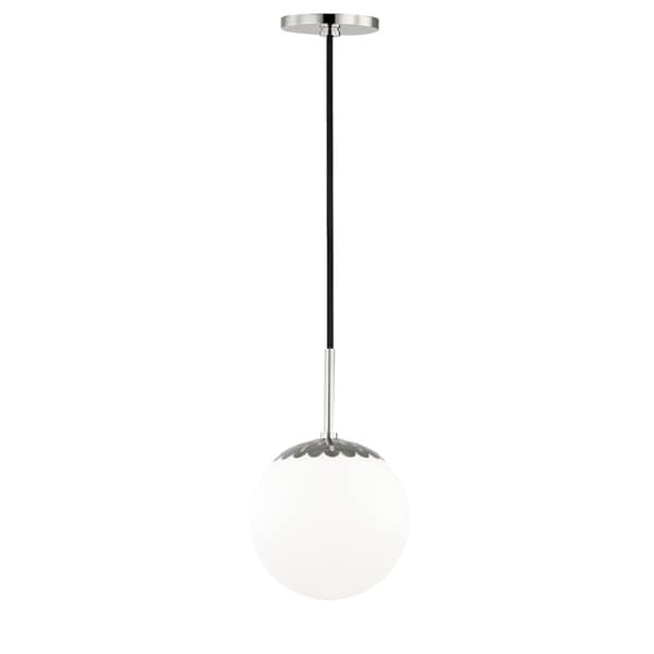 Mitzi by Hudson Valley Paige 1-light Polished Nickel Small Pendant, Opal Glossy Glass