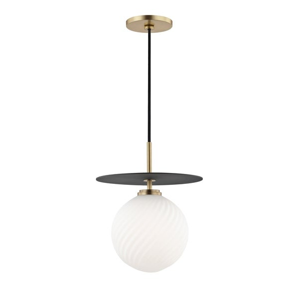 Mitzi by Hudson Valley Ellis 1-light Aged Brass Large Pendant with Black Accents, Opal Matte Glass