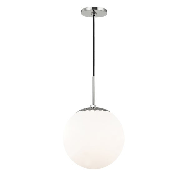 Mitzi by Hudson Valley Paige 1-light Polished Nickel Large Pendant, Opal Glossy Glass