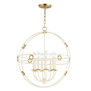 Mitzi by Hudson Valley Jade 8-light Gold Leaf Large Pendant with Cream Accents