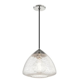 Mitzi by Hudson Valley Maya 1-light Polished Nickel Large Pendant, Clear Crackle Glass