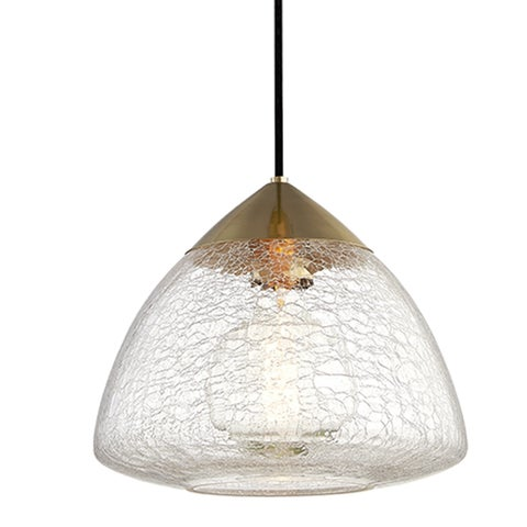 Mitzi by Hudson Valley Maya 1-light Aged Brass Large Pendant, Clear Crackle Glass