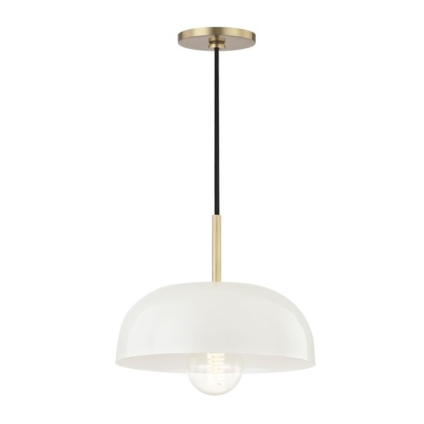 Mitzi by Hudson Valley Avery 1-light Aged Brass Small Pendant, Cream Metal