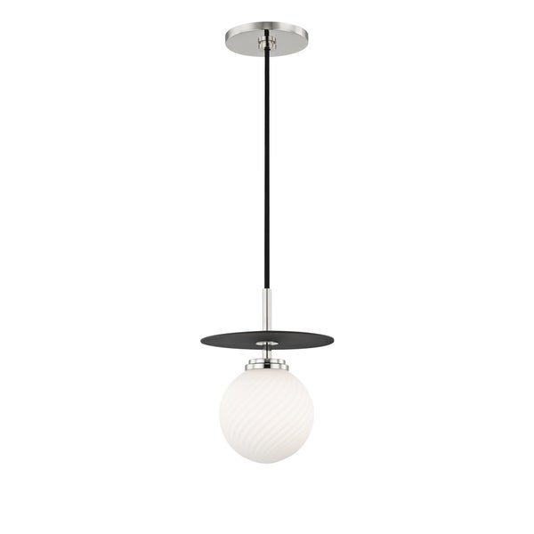 Mitzi by Hudson Valley Ellis 1-light Polished Nickel Small Pendant with Black Accents, Opal Matte Glass