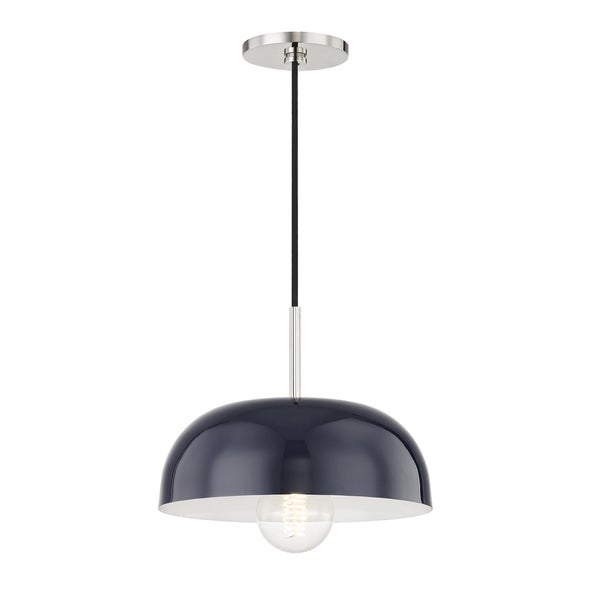 Mitzi by Hudson Valley Avery 1-light Polished Nickel Small Pendant, Navy Metal