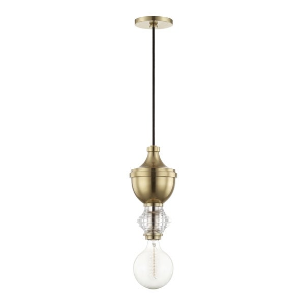 Mitzi by Hudson Valley Elliot 1-light Aged Brass Pendant
