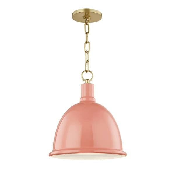 Mitzi by Hudson Valley Blair 1-light Aged Brass Small Pendant, Pink Metal