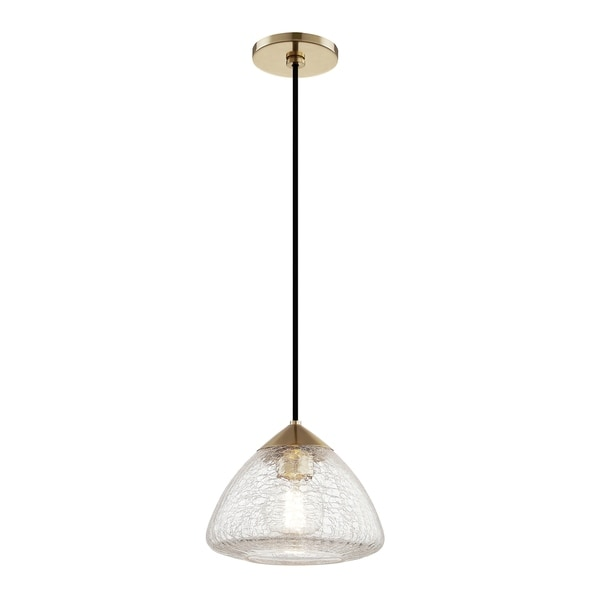 Mitzi by Hudson Valley Maya 1-light Aged Brass Small Pendant, Clear Crackle Glass