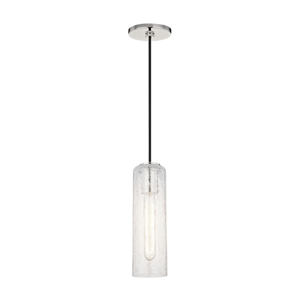 Mitzi by Hudson Valley Skye 1-light Polished Nickel Pendant, Clear Crackle Glass