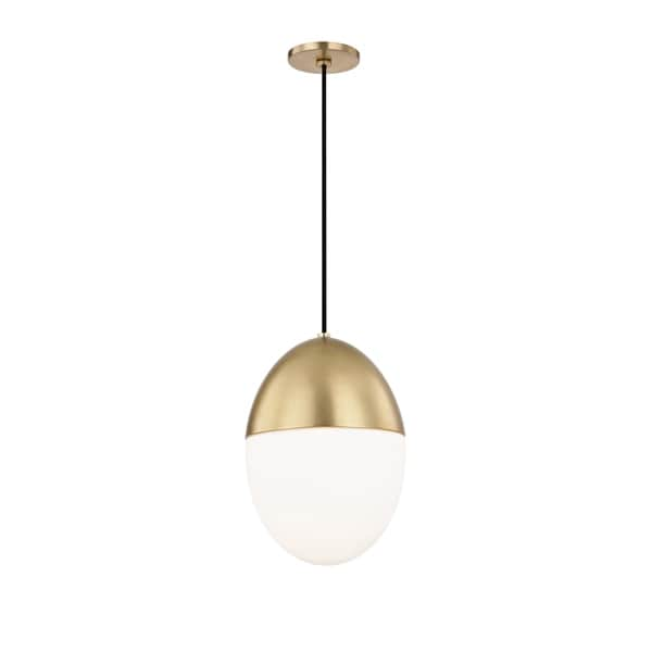 Mitzi by Hudson Valley Orion 1-light Aged Brass Large Pendant, Opal Matte Glass