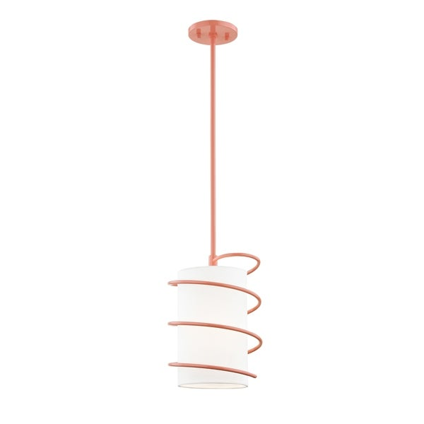 Mitzi by Hudson Valley Carly 1-light Pink Small Pendant, White Linen