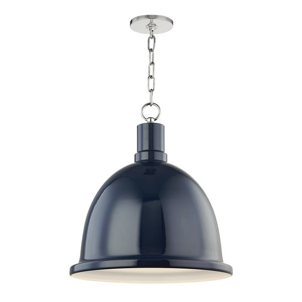 Mitzi by Hudson Valley Blair 1-light Polished Nickel Large Pendant, Navy Metal