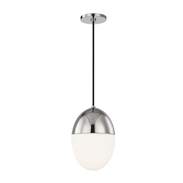 Mitzi by Hudson Valley Orion 1-light Polished Nickel Small Pendant, Opal Matte Glass
