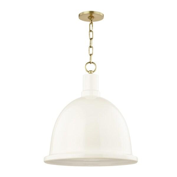 Mitzi by Hudson Valley Blair 1-light Aged Brass Large Pendant, Cream Metal