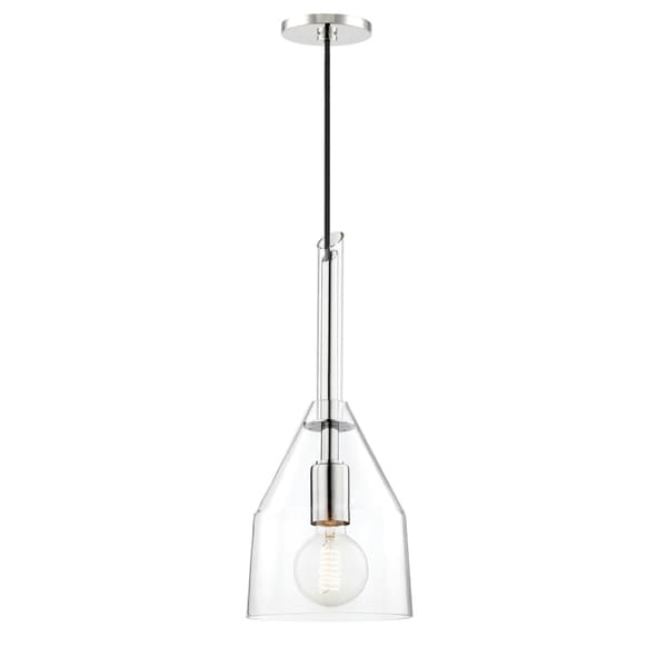 Mitzi by Hudson Valley Sloan 1-light Polished Nickel Small Pendant, Clear Glass