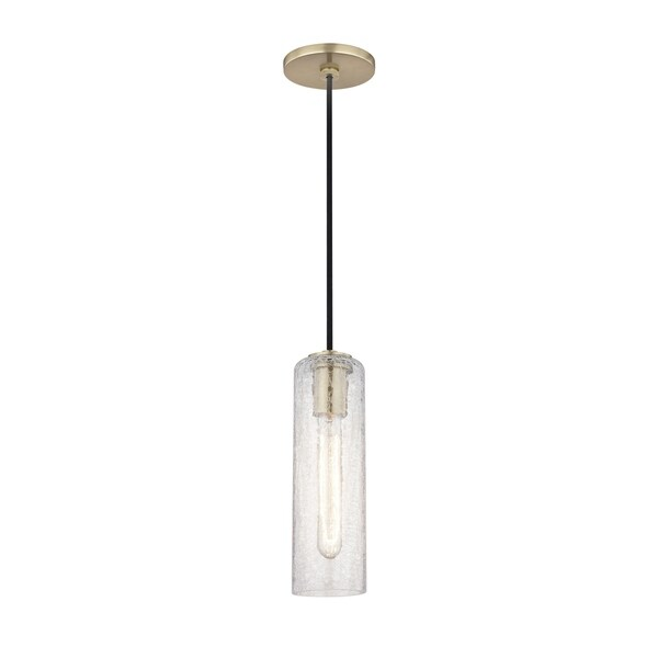 Mitzi by Hudson Valley Skye 1-light Aged Brass Pendant, Clear Crackle Glass