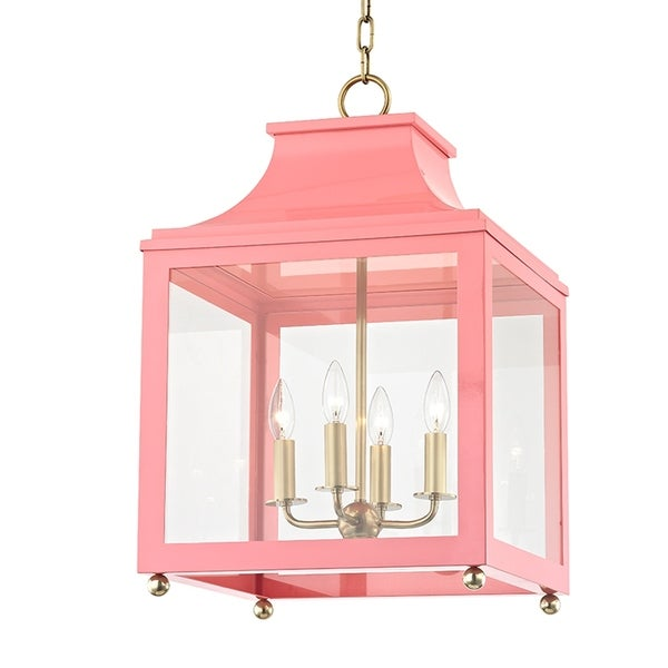 Mitzi by Hudson Valley Leigh 4-light Aged Brass Large Pendant with Pink Accents, Clear Glass