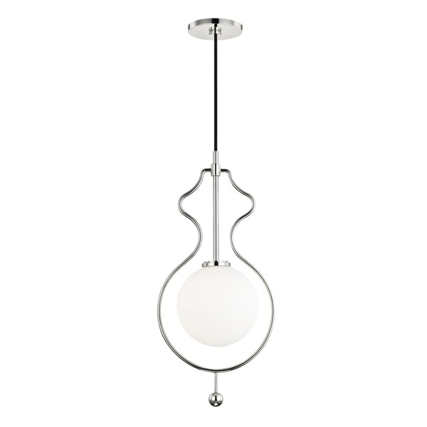 Mitzi by Hudson Valley Abigail 1-light Polished Nickel Pendant, Opal White Glass